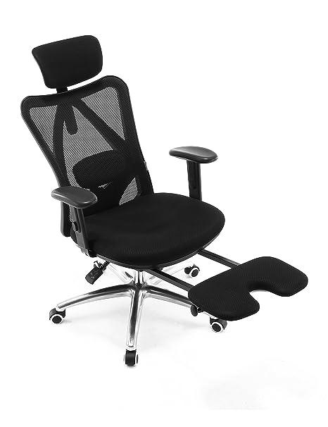 Silla de oficina ergonómica Sihoo. Silla reclinable con respaldo alto de malla. Sillas de