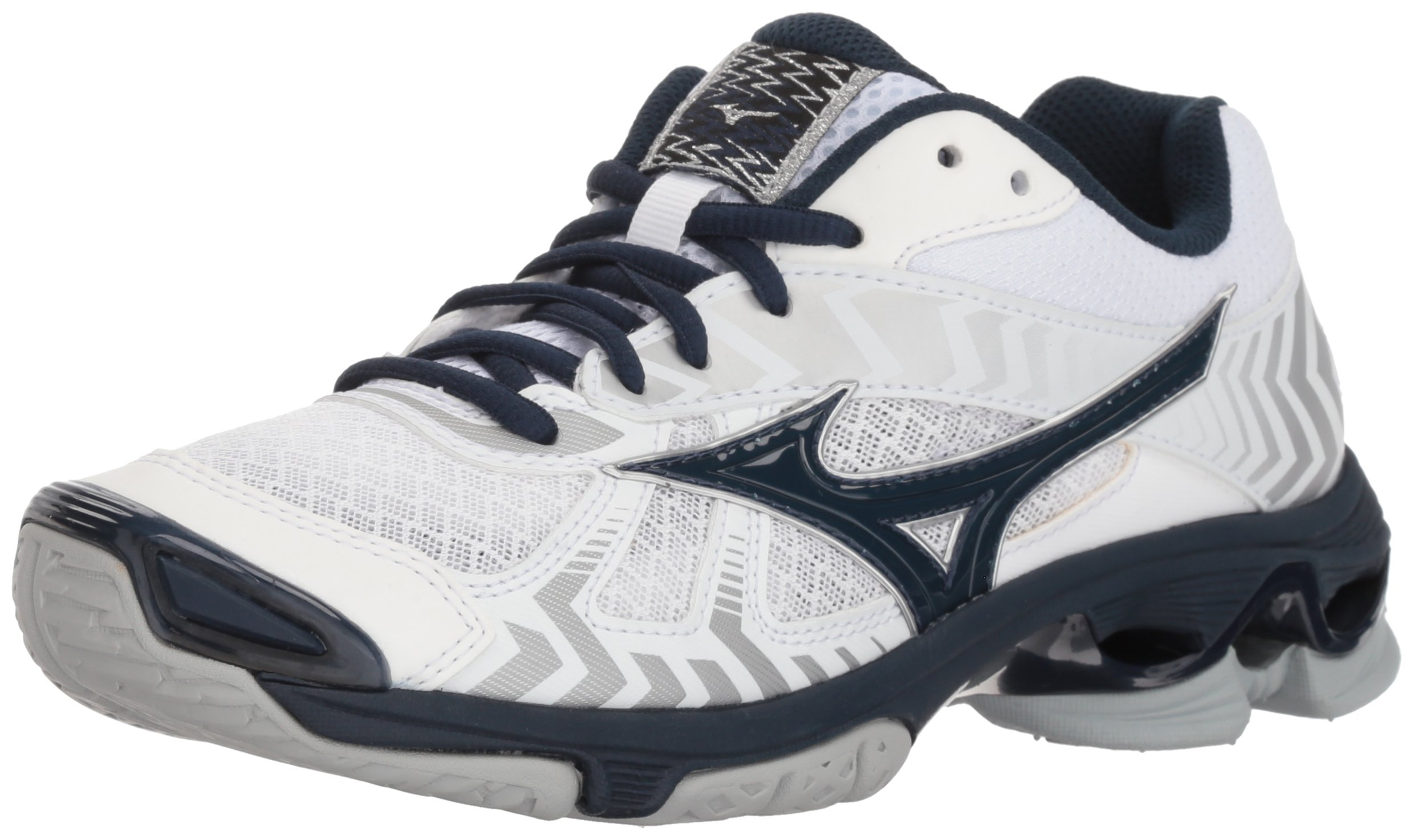 Mizuno Wave Bolt 7 Volleyball Shoes, White/Navy Women's 8 B US
