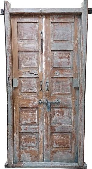Biscottini Puerta Antigua con Marco finamente restaurado en Madera de Teca: Amazon.es: Hogar