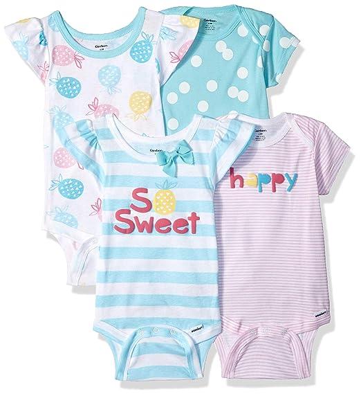 8fe4bb6ca Gerber Baby Girls 4-Pack Short-Sleeve Onesies Bodysuit, Pineapple, Newborn