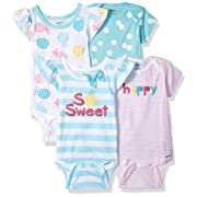 Gerber Baby Girls 4-Pack Short-Sleeve Onesies Bodysuit, Pineapple, 0-3 Months