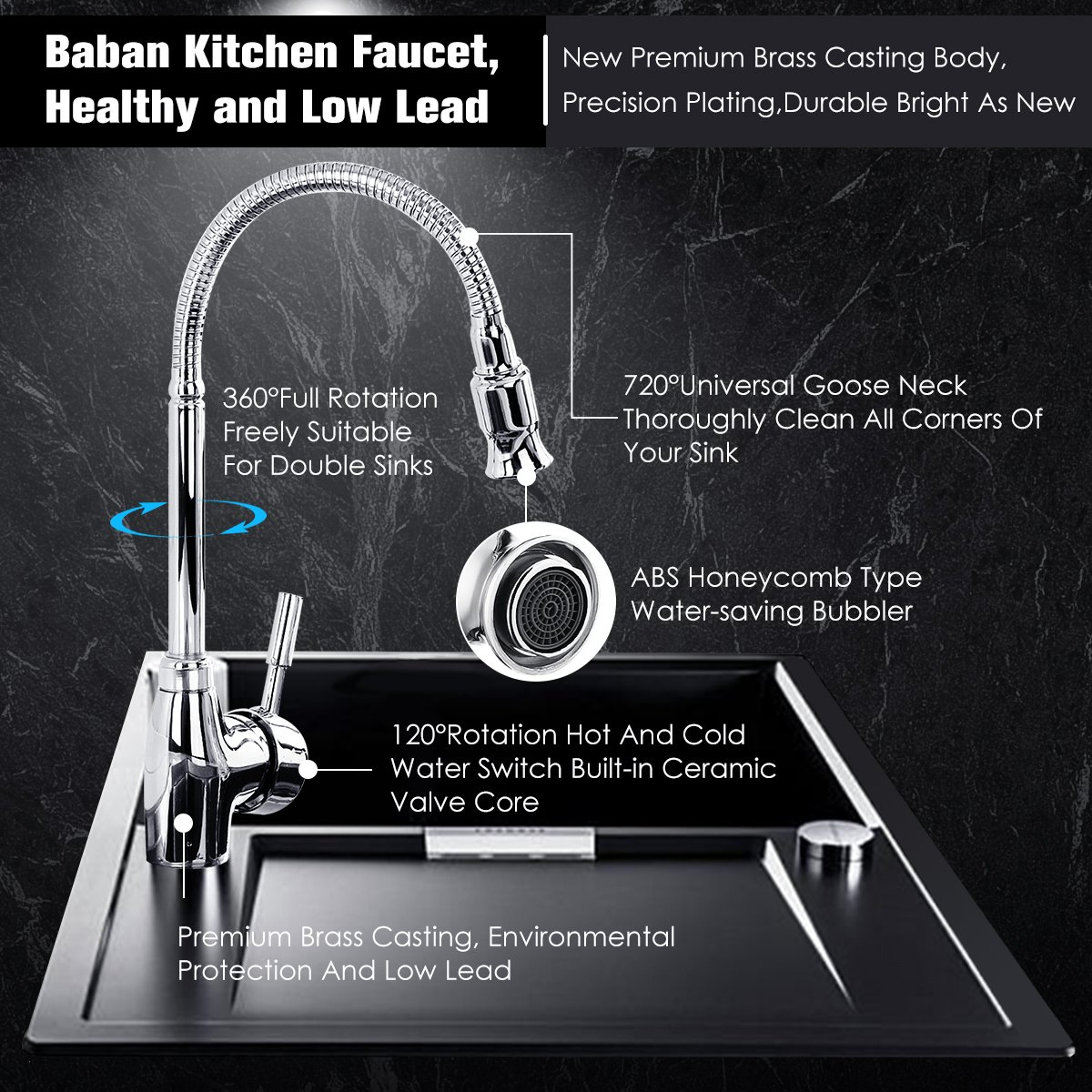 Kitchen Faucet, Baban Single Handle Kitchen Tap 360 Degree Swivel ...
