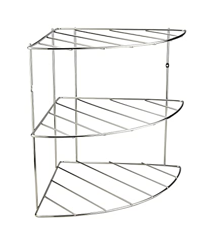 334f3b12f5a9 Image Unavailable. Image not available for. Color: Stainless Steel Corner  Shelf Organizer - Metal 3 Tier Pan Lid Storage Rack ...