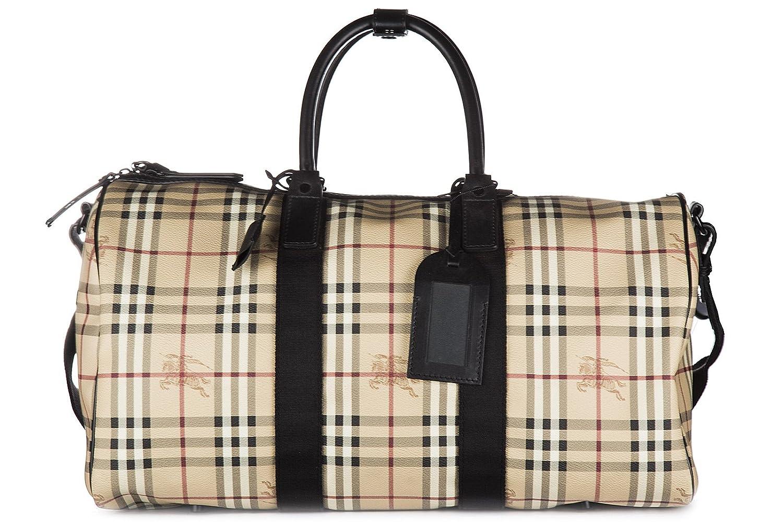Burberry bolso de viaje con bandolera nuevo haymarket boston 52 beige: Amazon.es: Zapatos y complementos