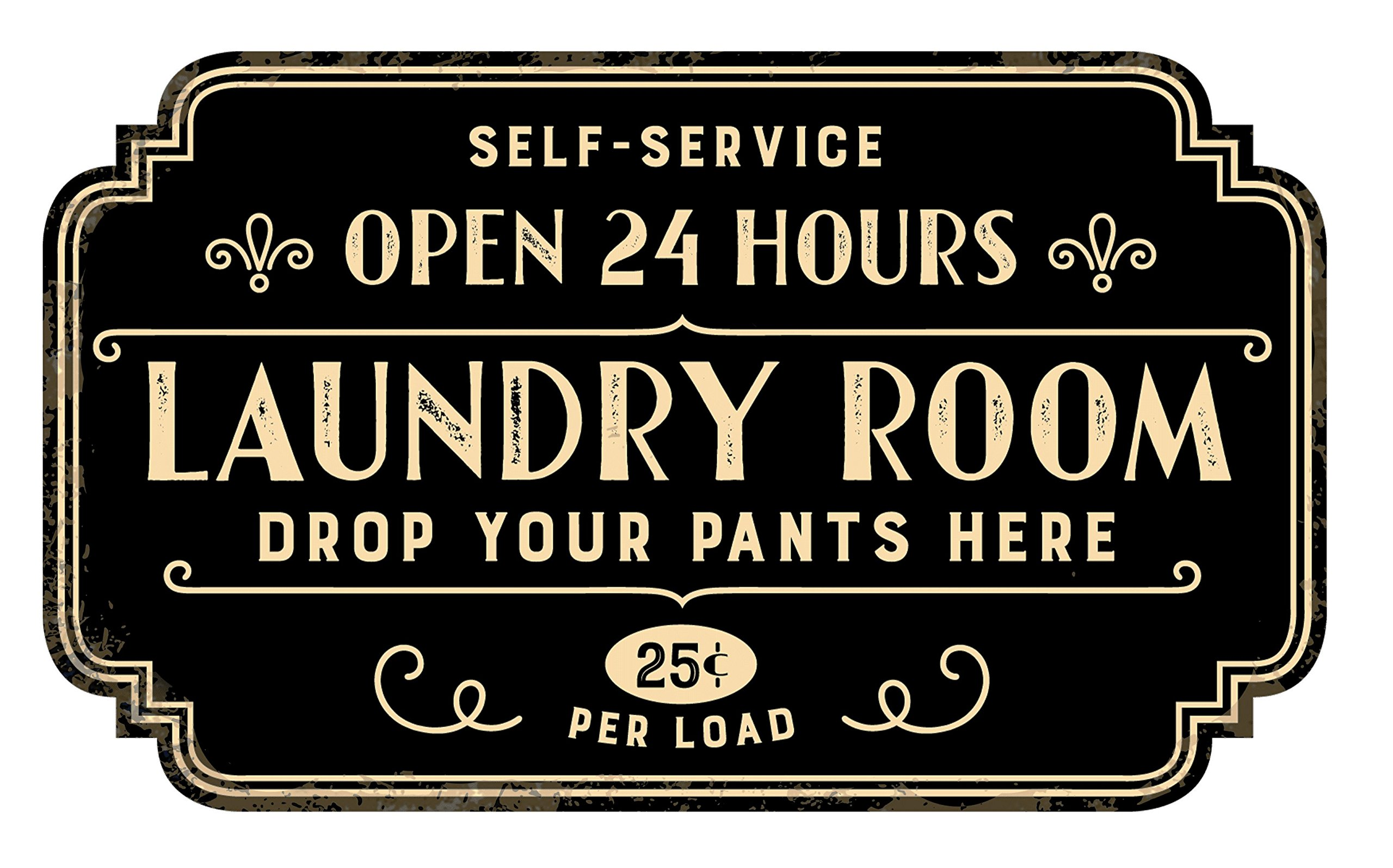 Zazzy Signs Rustic Laundry Room Wall Decor Sign - Vintage Distressed Metal - 17x13 Inch by Zazzy Signs