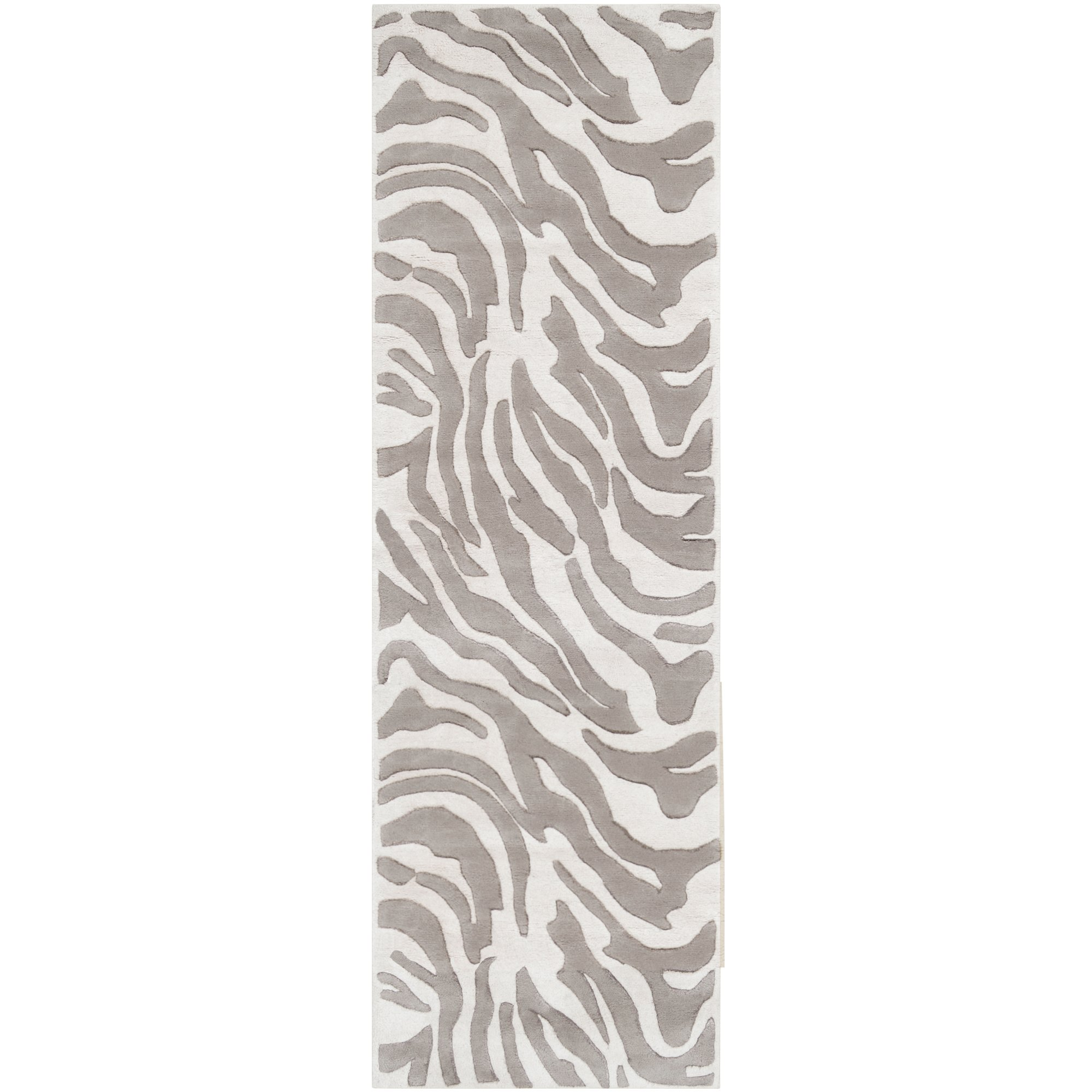 B. Smith by Surya Mosaic MOS-1001 Contemporary Hand Tufted 100% New Zealand Wool Ivory 2'6'' x 8' Animal Runner