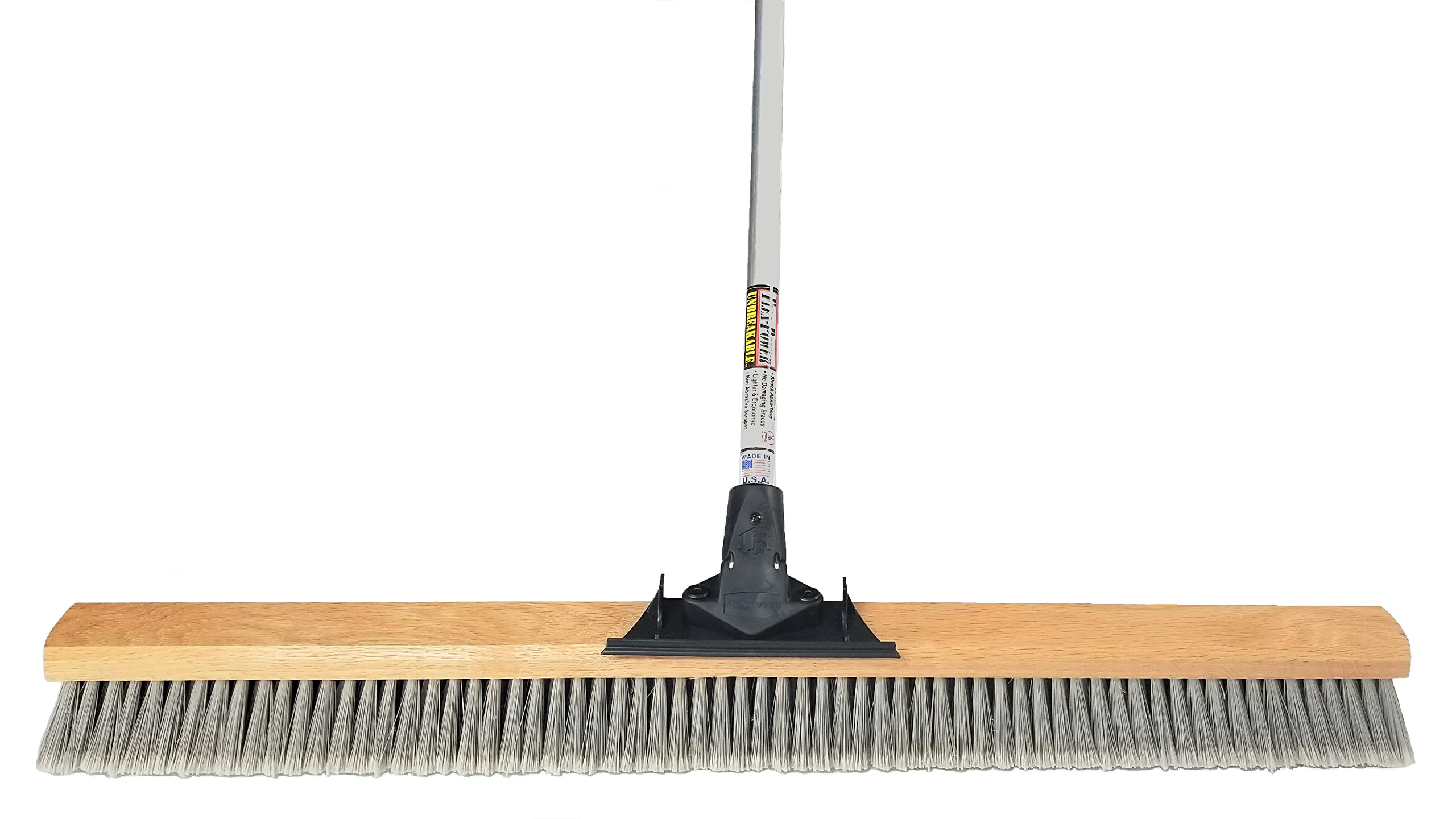 FlexSweep Unbreakable Commercial Push Broom (Contractors 36 Inch) Fine Gray Flagged Bristles