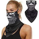 Newbeeler Neck Gaiter with Ear Holes Loops PM2.5 Reusable Washable Ultraviolet-Proof Ventilation Rapid Drying for Women 3PCS