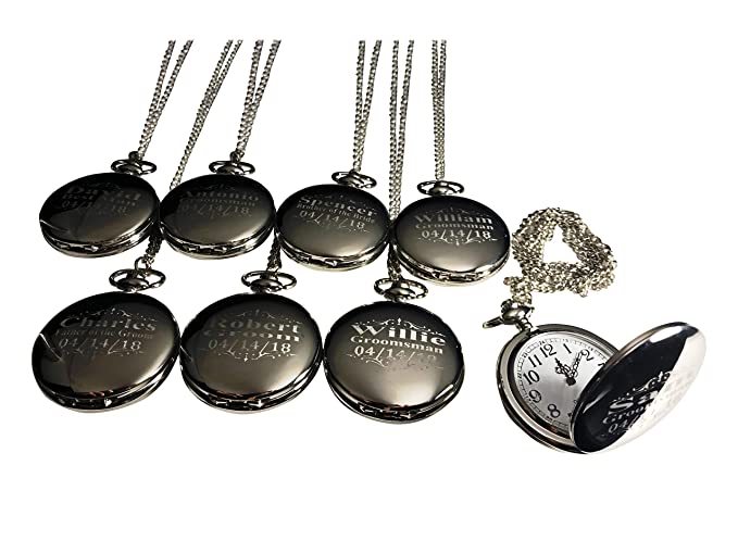 ccd6302c9 8 Personalized Pocket Watches, Set of 8 Groomsmen Wedding Unique Gifts,  Chain, Box