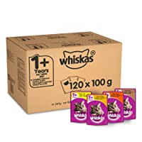 Whiskas 1+ Cat Pouches Mixed Selection in Jelly, 120 x 100 g Mega Pack