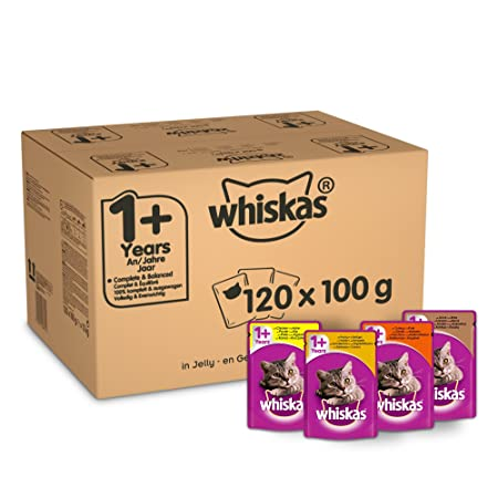 Whiskas 1+ Wet Cat Food for Adult Cats Poultry Selection in Jelly, 120 Pouches (120 x 100 g)-Best-Popular-Product
