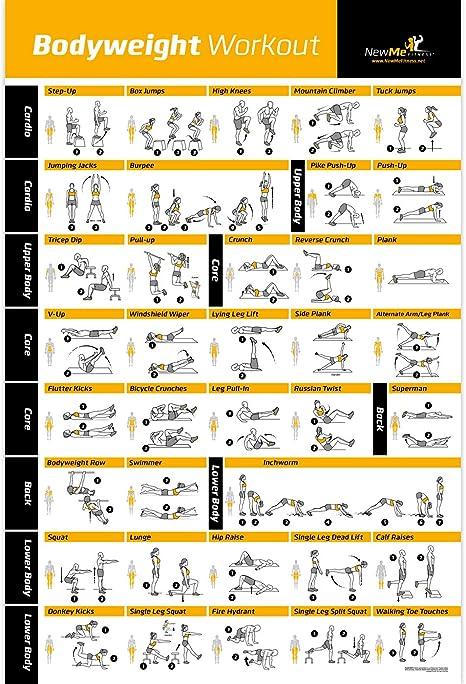Póster de ejercicio de peso corporal, entrenamiento total del cuerpo, programa de fitness personal para entrenamiento, póster de gimnasio en casa, ...