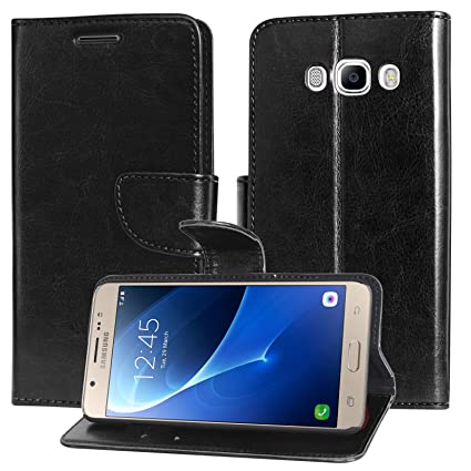 buy online f46c8 aab20 DMG Samsung Galaxy On8 Flip Cover, Sturdy PU Leather Wallet Book Cover Case  for Samsung Galaxy On8 (Black)