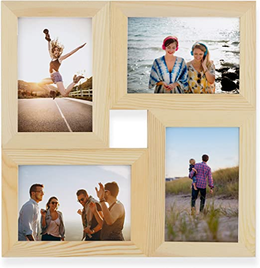 Family Wooden Collage Photo Frame Multi Slot Pictures Tabletop Memories Display