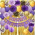 Decoraciones de cumpleaños moradas para mujer, pancarta de feliz cumpleaños, globos de confeti, globos de papel de lunares dorados, cortinas de flecos para fondo de fotos de cumpleaños, color morado y dorado