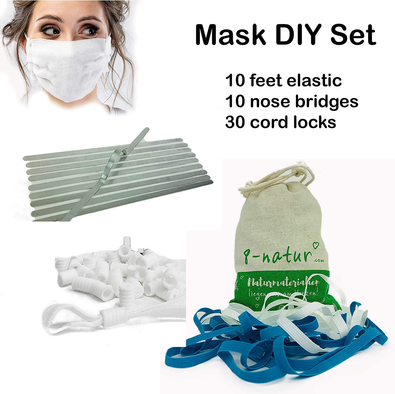 Amazon Com 8 Natur Diy Face Mask Kit 10 Yards Elastic Bands For