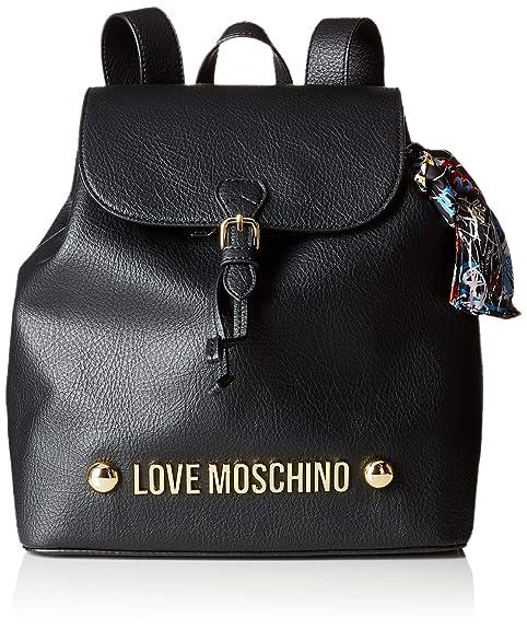 Love Moschino - Borsa Bonded Pu, Bolsos mochila Mujer, Negro (Nero),