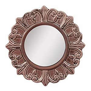 Stonebriar Decorative Round Burnt Umber Ceramic Wall Mirror Elegant Home Décor for Living Room, Kitchen, Bedroom, or Hallway