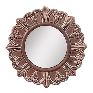 Stonebriar Decorative Round Burnt Umber Ceramic Wall Mirror Elegant Home Décor for Living Room, Kitchen, Bedroom, or Hallway