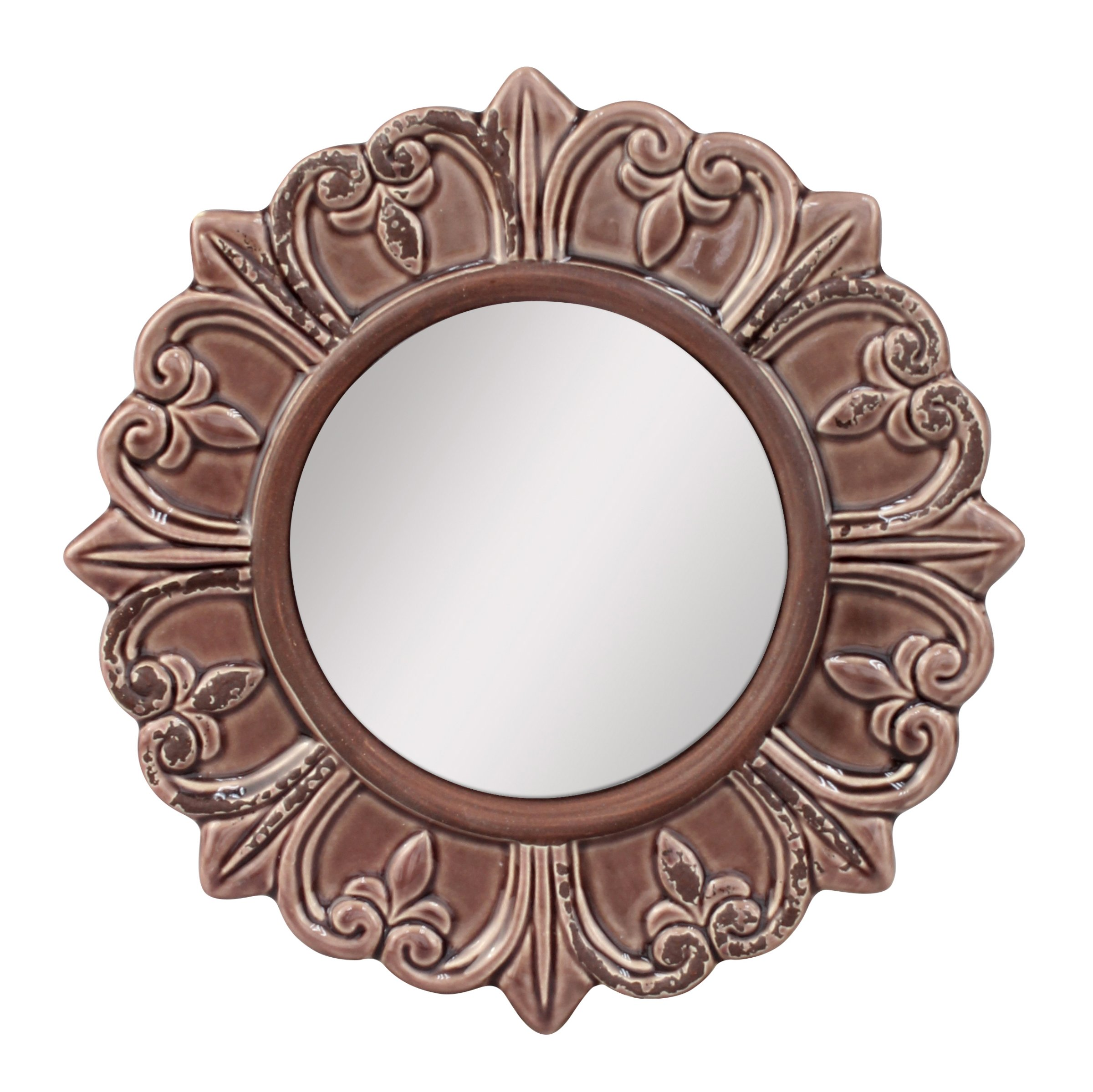 Stonebriar Decorative Round Burnt Umber Ceramic Wall Mirror, Elegant Home Décor for Living Room, Kitchen, Bedroom, or Hallway