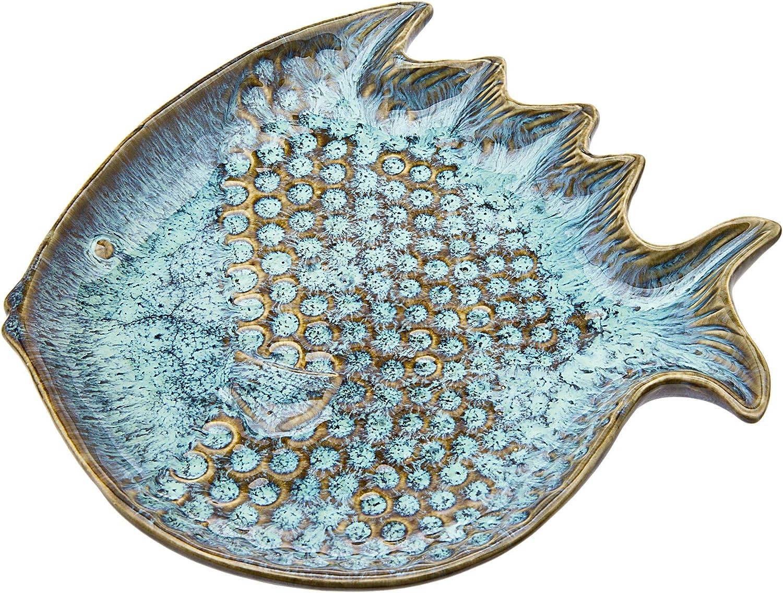 Fish Plate Accent Platter Dessert Appetizer Server Decor Blue Ceramic by Godinger