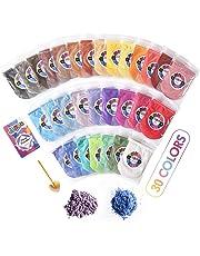 Mica en Polvo - Pigmento Perlado de 30 colores - Set de Tintura de Resina - Colorante de Grado Cosmético para Bombas de Baño, Gelatina Pegajosa, Arte de Bricolaje, Sombra de Ojos, y Esmalte de Uñas