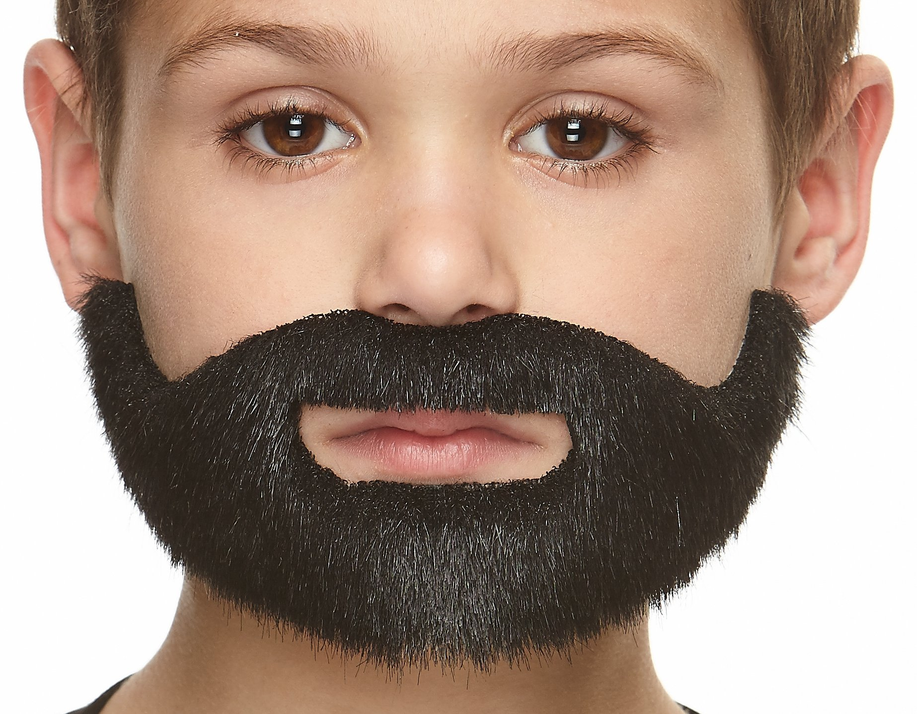 Mustaches Self Adhesive, Novelty, Fake, Small, Short Boxed Beard, Black Lustrous Color
