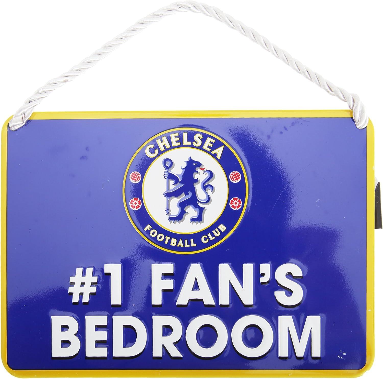 Talla /Única Azul Chelsea FC Placa met/álica Decorativa Oficial Texto Number 1 Fan Bedroom