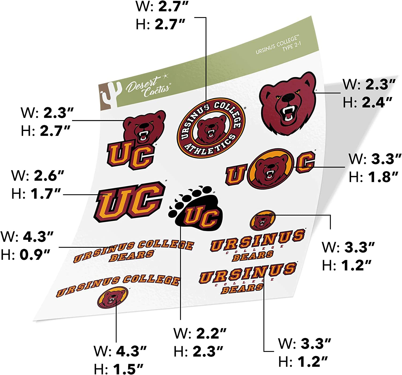 Ursinus College Bears NCAA Sticker Vinyl Decal Laptop Water Bottle Car Scrapbook Type 2 Sheet