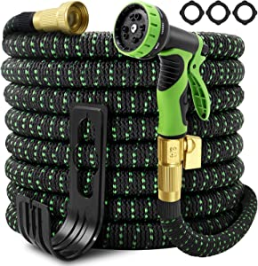 Garden Hose Expandable 100ft, Self-Locking Leakproof Water Hose With 10 Function Spray Nozzle,Heavy Duty Flexible Hose,3/4