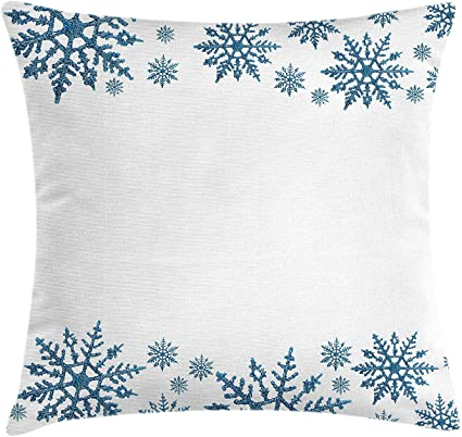 Mtdkx Snowflake Throw Pillow Cushion Cover Winter Inspired Frame With Snow Pattern With Hexagons And Lines Retro Design Decorative Square Accent Pillow Case Blue White 18 X 18 Inches Amazon Co Uk Kitchen Home