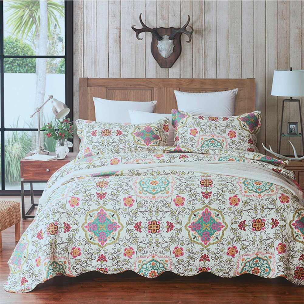 100% Cotton 3-Piece Flower Patchwork Bedspread Quilt Sets King