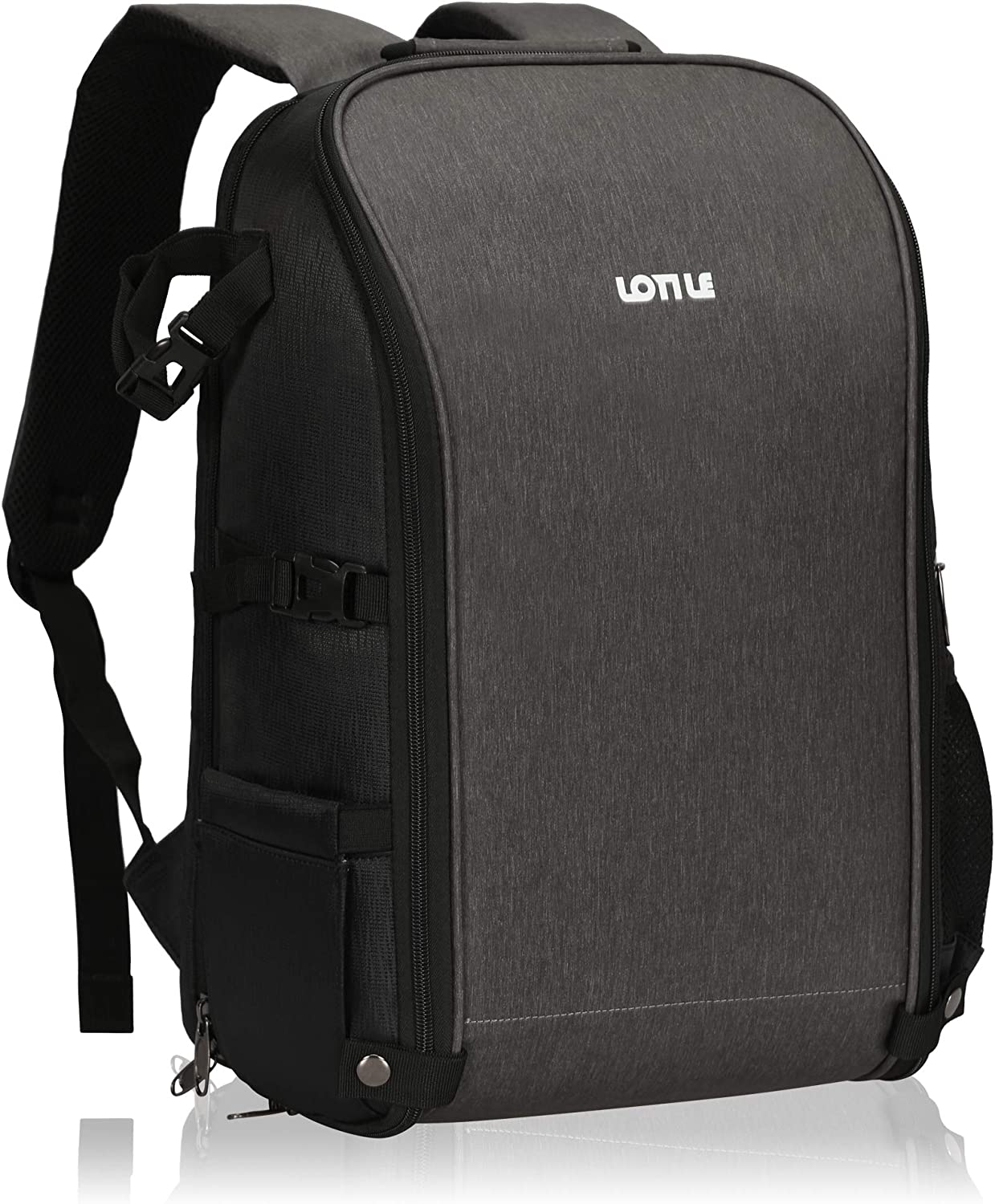 LOTILE Camera Backpack 15-inch Laptop Bag, Anti-Theft Professional 24L Camera Case with Rain Cover(Grey)