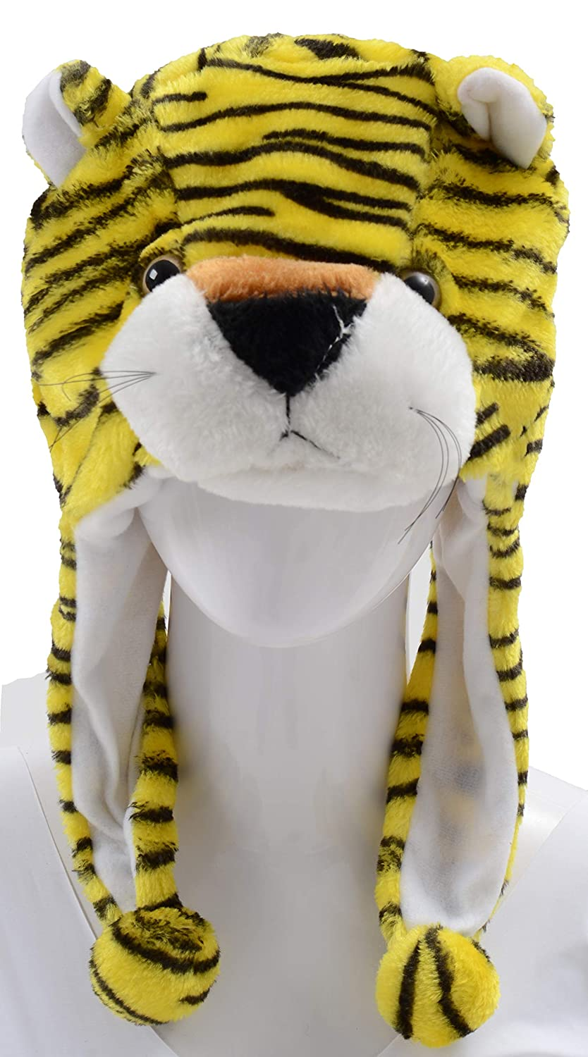 01d5d5152fb Amazon.com  PULAMA Winter Animal Beanie Hat with Free 10 Finger Family  Puppet Toys - Tiger  Clothing