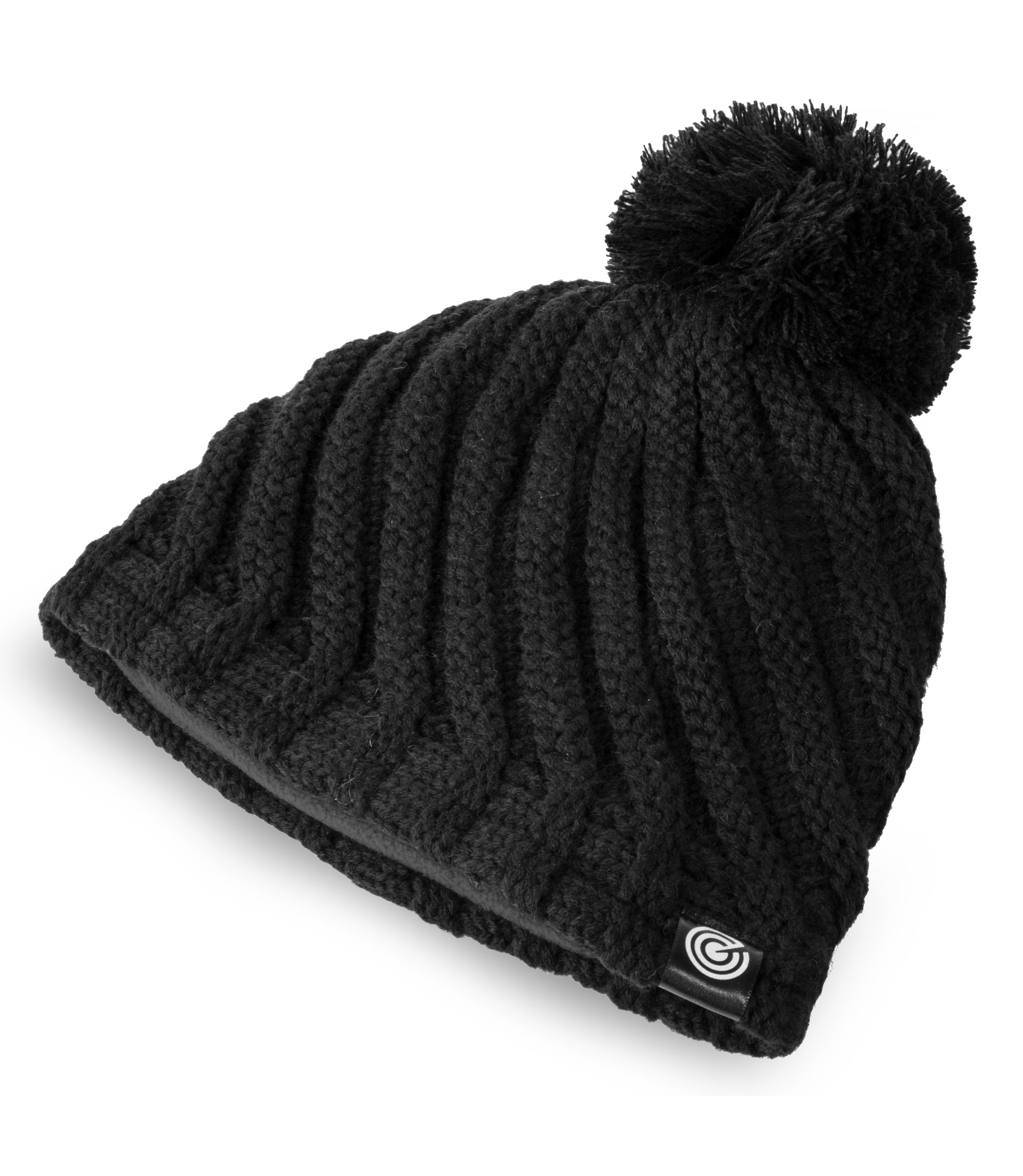 Evony Womens Ribbed Pom Beanie Hat with Warm Fleece Lining - Black - One Size