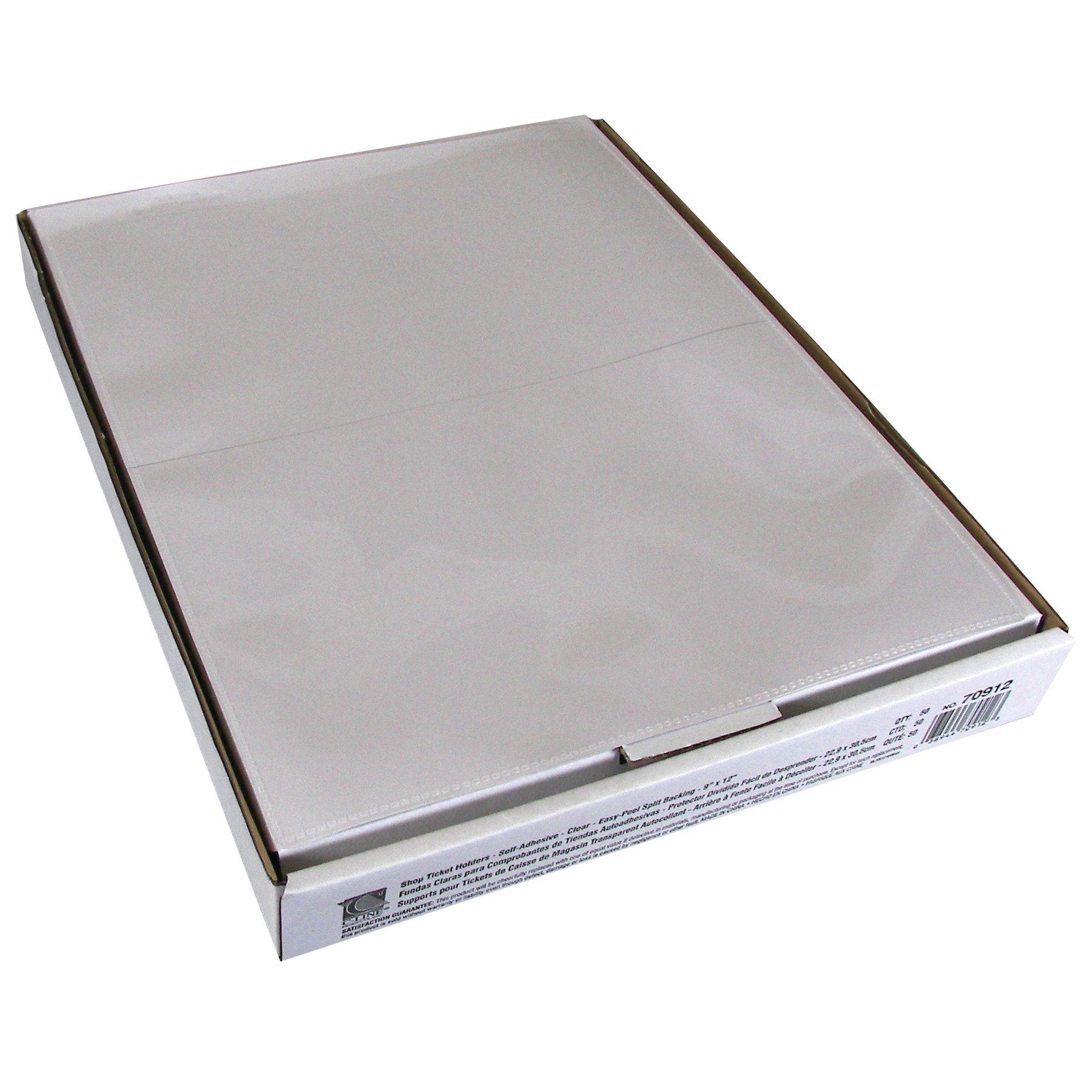 C-Line 70912 Self-Adhesive Shop Ticket Holders, Heavy, 50'', 9 x 12 (Box of 50)