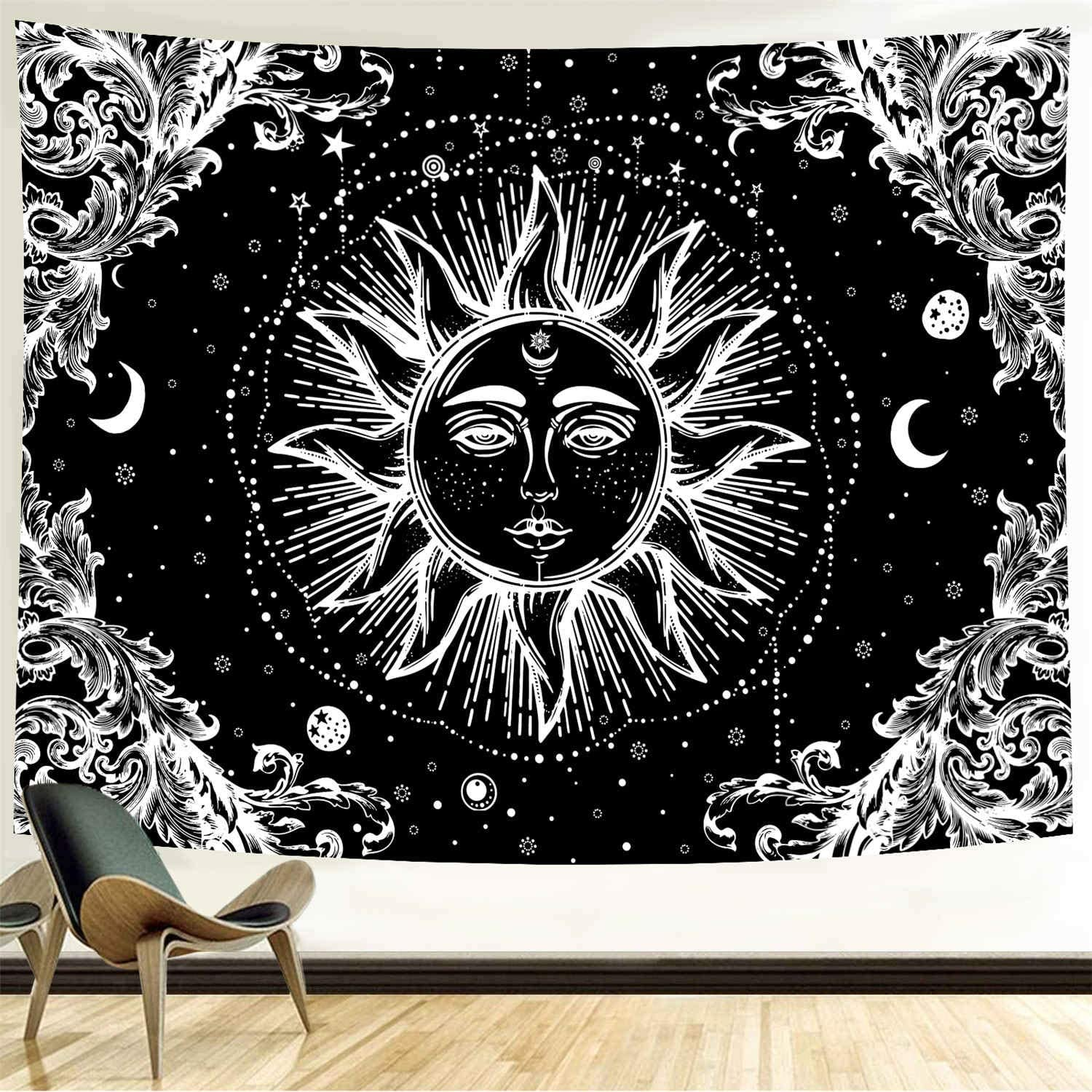 Funeon Black and White Sun Tapestry for Bedroom Bohemian Mandala Tapestry Wall Hanging Moon Stars Tapistry Dorm Decoration for College Girls | Cute Dark Tapistry Psychedelic Wall Decor 90x70 inches