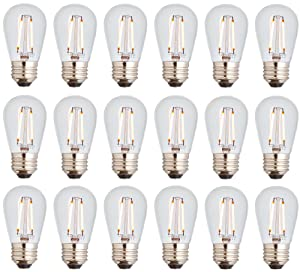 Newhouse Lighting S14LED18 Outdoor Weatherproof Shatterproof 2W S14 Vintage LED Filament Replacement String Light Bulbs Standard Base 18-Pack Dimmable Clear