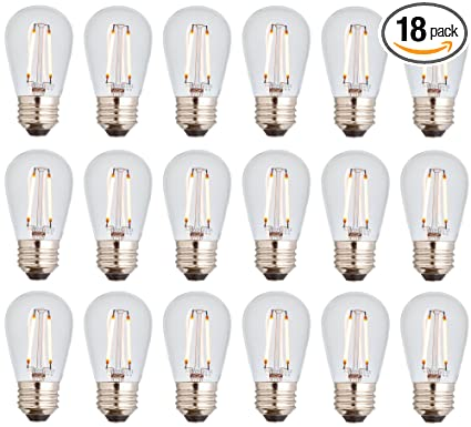 fc86d1e85a Newhouse Lighting S14LED18 Outdoor Weatherproof Shatterproof 2W S14 Vintage  LED Filament Replacement String Light Bulbs Standard