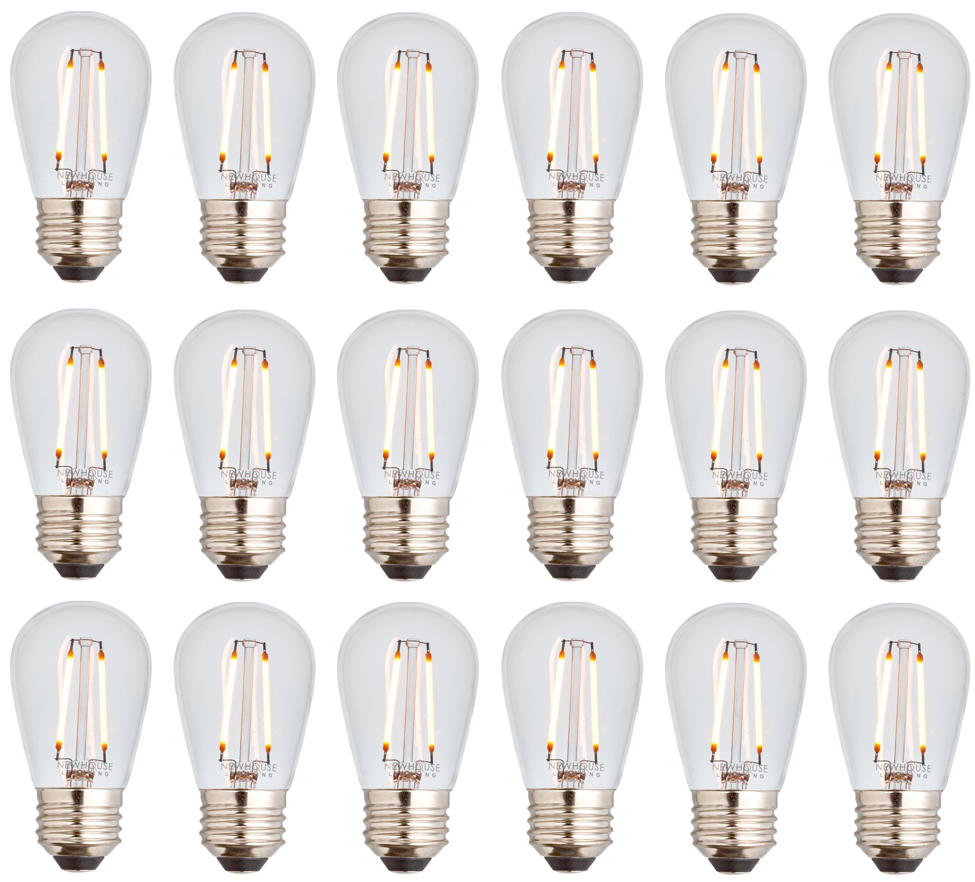 Newhouse Lighting Outdoor Weatherproof 2W S14 LED Filament Replacement String Light Bulbs | Standard Base | 18-Pack
