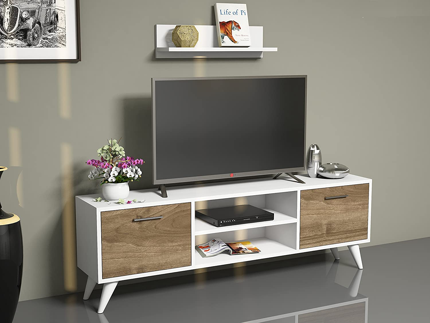 Horus Wall Unit White Walnut Tv Lowboard Tv Unit Tv Amazon Co  # Meuble Tv Stars