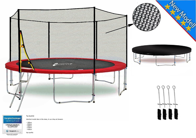 LS-T400-PA13 (R) LifeStyle ProAktiv Garten- Trampolin 400 cm - 13ft - Extra Starkes Sicherheitsnetz - 180kg Traglast - Neu