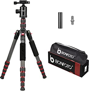 """BONFOTO B690C Lightweight Carbon Fiber Portable Tripod Compact Travel Camera Tripod Monopod with 360 Degree Ball Head,1/4"""" Quick Release Plate and Carry Bag for DSLR Cameras"""