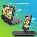 """Portable DVD Player 11.5"""" with 5 Hours Rechargeable Battery by SPACEKEY, 9"""" Swivel Screen, Support USB/SD Slot and 1.8M Car Charger, Support Memory and Region Free"""