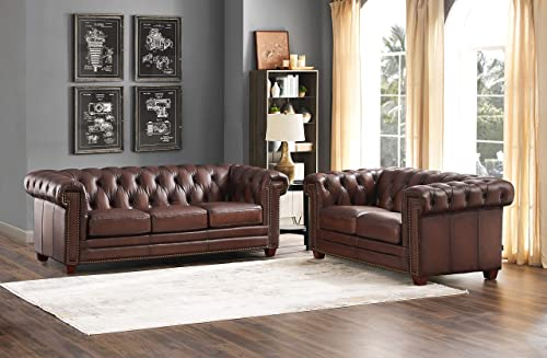 Hydeline Stanwood 100 Leather Sofa and Loveseat Set