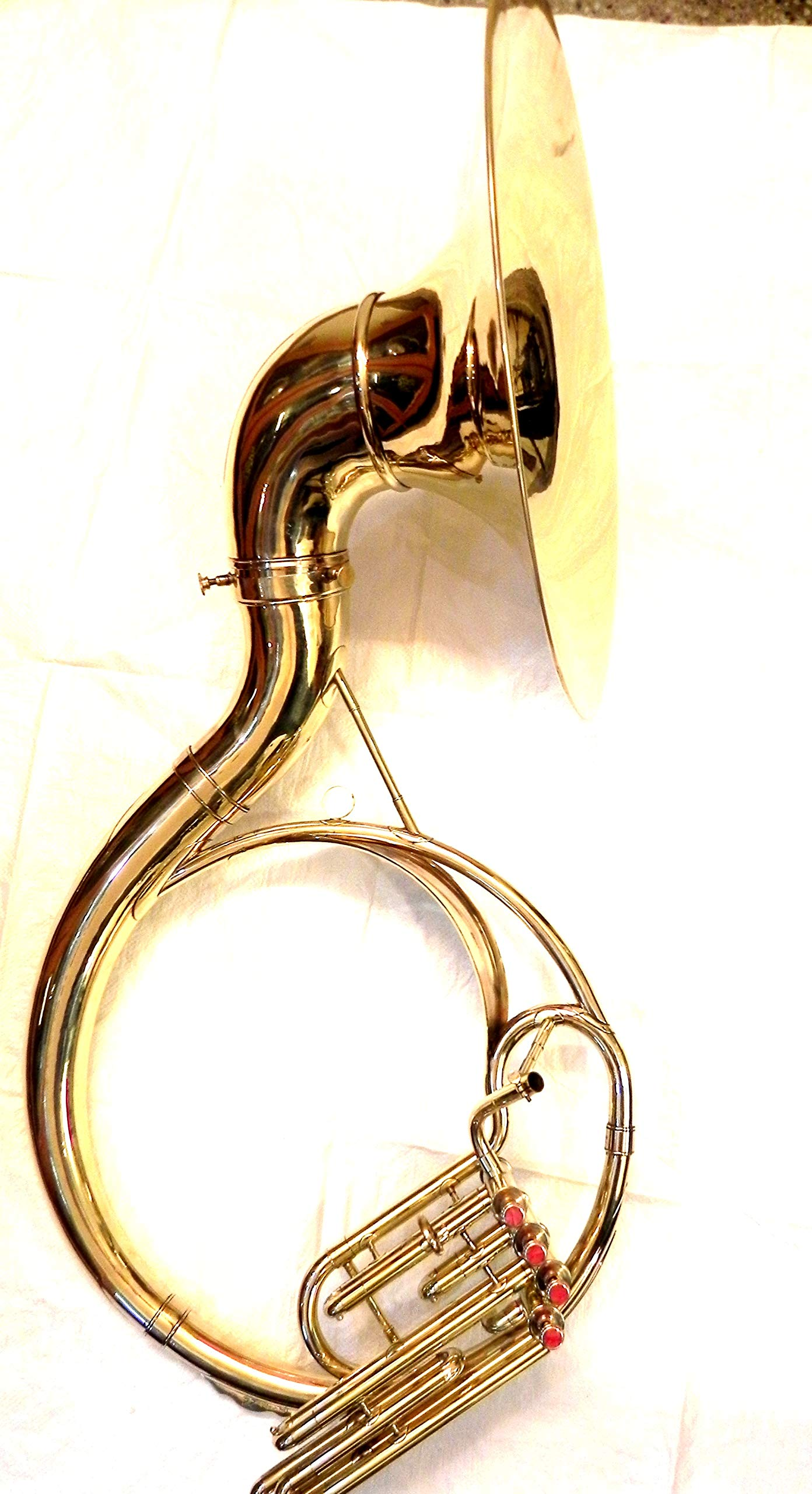 IM INDIAN HANDMADE BRASS FINISH 4 VALVE SOUSAPHONE BRASS MADE TUBA MOUTH PIECE WITH BAG by I/M