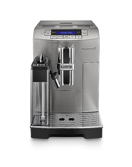 DeLonghi ECAM28.465.MB Primadonna Cafetera espresso automática, compacta, con depósito de leche, 1450 W, 1.8 L, 2 tazas, acero Inoxidable, plateado
