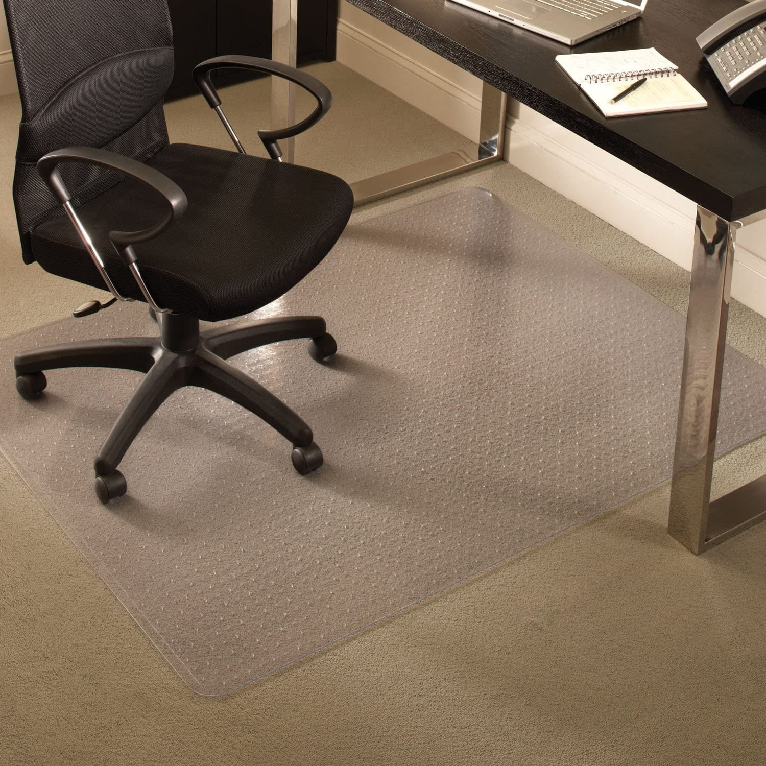 "ES Robbins Everlife 60"" x 96"" Medium Pile Series Rectangle Anchorbar Chair Mat, Clear"
