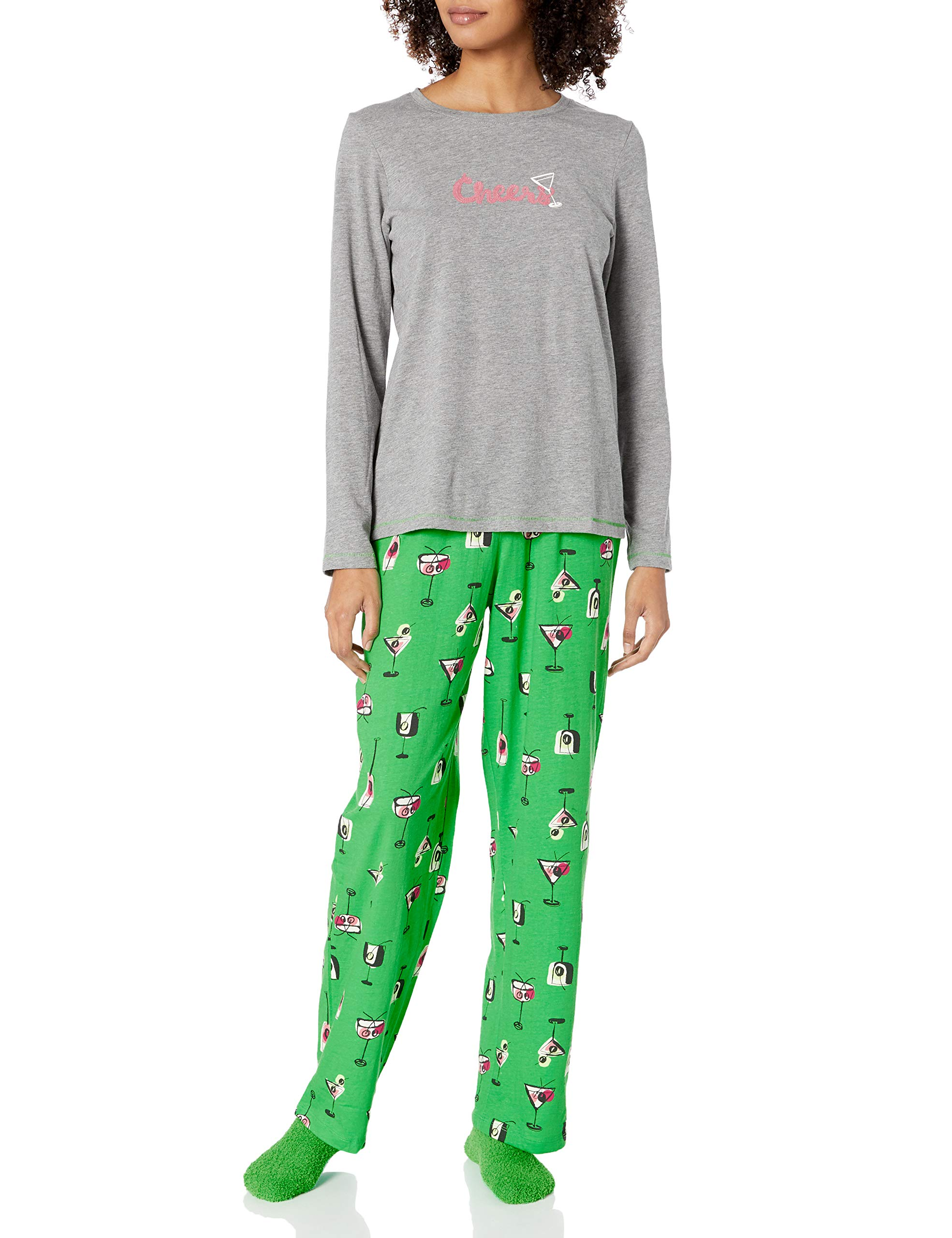 HUE Women's Printed Knit Tee and Pant 3 Piece Pajama Set