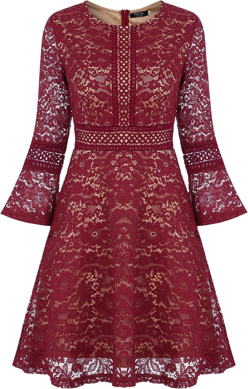 TALLA S. FISOUL Vintage Encaje Floral Coctel Vestido Corta para Mujer Rojo